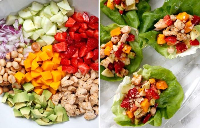 Фруктово-овощной салат с курицей и орехами